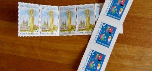 tschechische Briefmarken mit Buchstaben